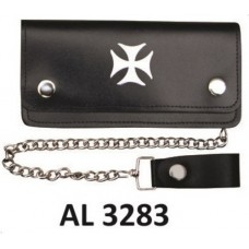 6 Inch Biker Chain Wallet with 6 pockets and Chopper Cross