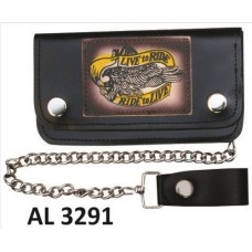 "8 Inch Biker Chain Wallet with 5 pockets and ""Live to Ride/Ride to Live"""