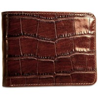 Croco Bifold Wallet with ID Flap 2702 Brown