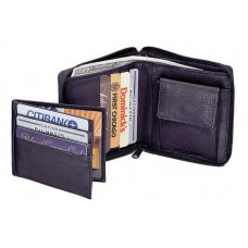 Cowhide Drum-Dyed Napa Leather Zippered Wallet w/Removable Credit Card Holder