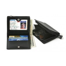 Cowhide Napa Leather Wallet with Zippered Coin Pocket & Currency