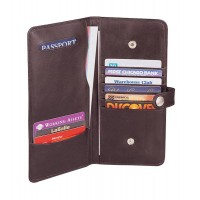 Cowhide Napa Leather Passport Organizer w/Removable Day Wallet