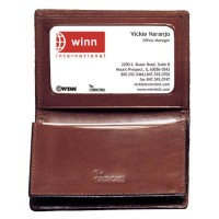 High Polished Aniline Leather Bi-Fold Wallet/Business Card Case w/I.D. Window