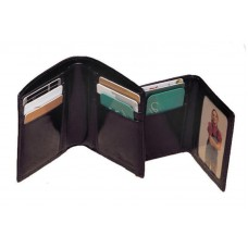 High Polished Aniline Leather Bi-Fold Wallet w/Removable ID